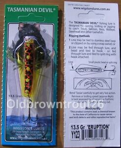 Tasmanian Devil No Y123 'Eruption' 13.5gr Carded Lure (Yellow Wings)