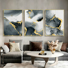 Black White Golden Wall Art Poster Abstract Canvas Print Room Decoration Picture