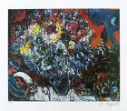 MARC CHAGALL Flowers And Lovers Bouquet de Fleur P/Signed Litho COA