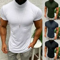 Men Summer Turtleneck muscle Short Sleeve Slim T-shirt Casual Tee Pullover Tops