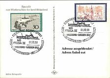 Beleg Dt. Schiffspost HELGOLAND Schiff MS FRISIA III Ship-Mail Postcard & Cancel