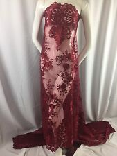 Lace Fabric - Embroidered 2 way Stretch Floral Burgundy For Dress By The Yard