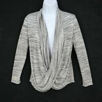 A. Byer Cardigan Pullover Sweater Womens Size S Gray White Striped Scoop Neck