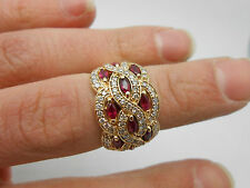 Stunning EFFY  2+ Ctw Designer 14k Yellow Gold Red Ruby & Diamond Ring Wide Band