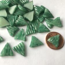 10 Vintage Art Deco Geometric Ribbed Shield Glass Cabochons 13x11 Jadeite Green