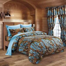 The Woods King Powder Blue Camo 7 Piece Bedding Set Comforter and Sheets