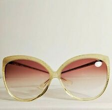 Vintage Atrio Pale Yellow with Glitter Sparkle Butterfly Frame Sunglasses