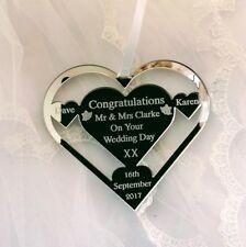 WEDDING GIFT PRESENT, HEART SHAPE PERSONALISED  SURNAME CLARKE BRIDE AND GROOM