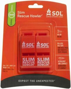 S.O.L. SURVIVE OUTDOORS LONGER SLIM RESCUE HOWLER WHISTLE 2 PACK (0140-0010)