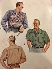 Vintage 40's Men's Button Down Shirt Complete Sewing Pattern LARGE 16-16 1/2