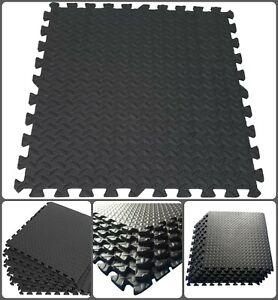 Black Leaf Design EVA Thick Mat Soft Interlocking Yoga Gum Office Flooring Tiles