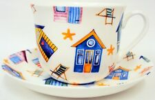 Beach Huts Cup Saucer Bone China Large Breakfast Cup Saucer Set Decorated UK
