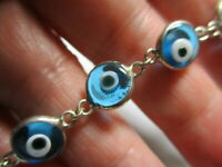 STERLING SILVER 900 ESTATE BLUE PLASTIC EYE EYEBALLS 7,25 INCH BRACELET