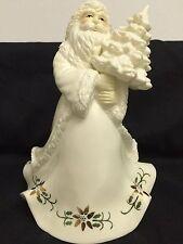 "White Ceramic Musical Santa Holding Tree Plays Joy To The World  9.5"" tall"