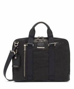 TUMI Alpha Bravo Aviano Cowhide BLACK Leather Slim Briefcase