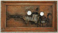 Vtg 60s Japanese Abstract Brutalist Framed Dragon Metal Wall Art MCM Modern