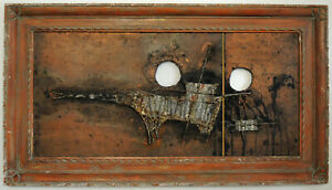 Vtg 60s Japanese Abstract Brutalist Framed Dragon Metal Wall Art MCM Modern