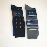Cole Haan Mens Dress SOCKS 6 pair Sz 7-12 Combed Cotton Navy Grey Fathers Day!