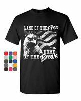 Land of the Free T-Shirt 4th of July Bald Eagle American Flag Mens Tee Shirt