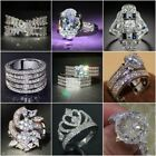 Fashion 925 Sterling Silver White Topaz Wedding Ring Women's Men Jewelry Sz6-10