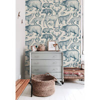 Forest animals Removable wallpaper blue and beige Home Decor