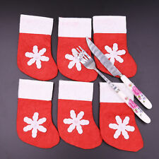 6 Pcs Christmas Tableware Silverware Holder Socks Cutlery Pouch Table Decoration