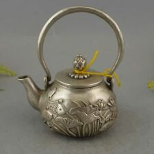 Collectible Decor Old Handwork Silver Plate Copper Carving Lotus fish Tea Pot