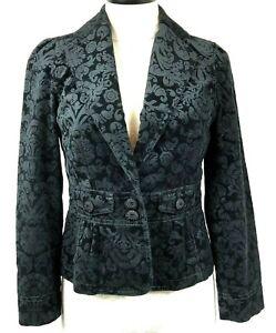ANN TAYLOR LOFT Velvet blazer jacket casual career Size 4P Black on Black