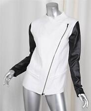 ROBERT RODRIGUEZ Black Faux Leather Sleeve White Wool Angora Jacket Coat Small