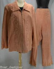 PAMELA MCCOY WOMENS PEACH GENUINE SUEDE LEATHER 2 PC Pant Suit  JACKET PLUS  2X