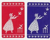 2 Single VINTAGE Swap/Playing Cards GIRL & BIRDS ID 'CASCADE CH-8-7' Red/Blue
