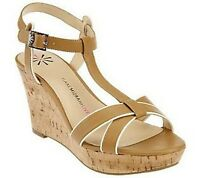 Isaac Mizrahi Sandal with Ankle Strappy and Cork Wedge pick size color new