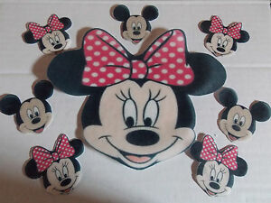 Large Edible precut Minnie Mouse cake and cupcake toppers