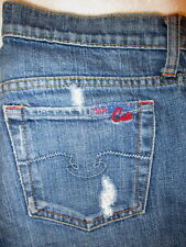Blue Cult Kate Mid  Flare Stretch Womens Juniors Jeans Sz 28 x 31 destroyed USA