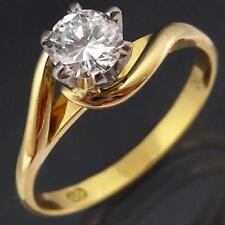 Vintage 70's Solid 18k Yellow GOLD SOLITAIRE DIAMOND RING Val=$2840 Sz M1/2