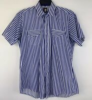 Karman Vintage 1970s Western Pearl Snap S/S Shirt Blue White Striped Mens Medium