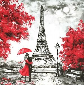 3 x Single Paper Napkins For Decoupage Loving Couple In Red Paris Eiffel N485