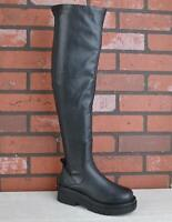 Ladies Womens Chunky Heel Platform Over Knee Thigh High Stretch Zip Boots Size
