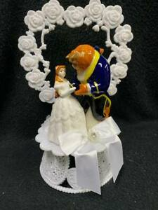 Dancing Beauty and the Beast Disney Wedding Cake Topper Belle Heart or Moon Top