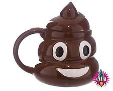 EMOJI EMOTICON  POOP 3D STYLE COFFEE MUG CUP WITH LID NEW IN GIFT BOX