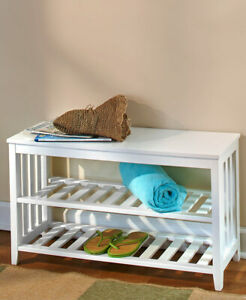 2 Piece Entryway Mud Room Wall Shelf Coat Rack & Shoe Storage Bench Seat
