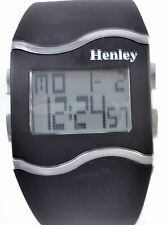 Henley Ladies Digital Watch with Day Date, Alarm, EL Light, Black Silicone Strap