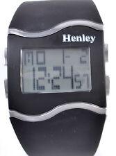 Henley Ladies Digital Watch With Day Date Alarm El Light Black Silicone Strap