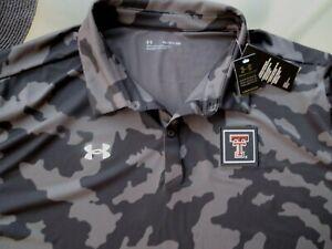New Texas Tech Red Raiders men 5XL Under Armour polo golf shirt Freedom Camo NWT