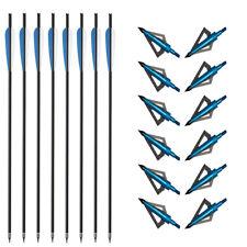"""20"""" Carbon Arrows with 100Grain Broadheads Crossbow Bolts Arrowhead Archery SET"""