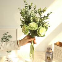 Artificial Bouquet 5 color Rose Silk Flowers Fake Leaf Wedding Party Decor Home