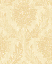 Gold Wallpaper Floral Damask Cream Aged Patina Lime Washed Modern Distressed