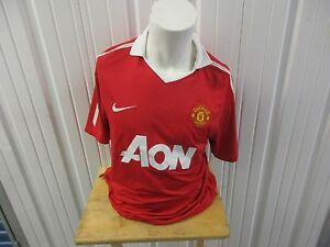 VINTAGE NIKE MANCHESTER UNITED F.C. AON XL HOME RED JERSEY 2010-2011 PRE OWNED