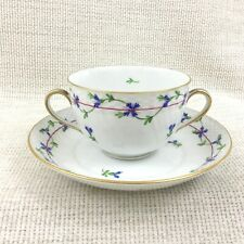 Herend Blue Garland Bullion Cup Soup Bowl and Saucer Hand Painted Porcelain