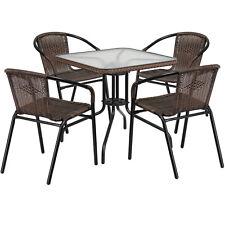 Flash Furniture Square Glass Metal Table w/ Dark Brown Rattan Edging & 4 Chairs